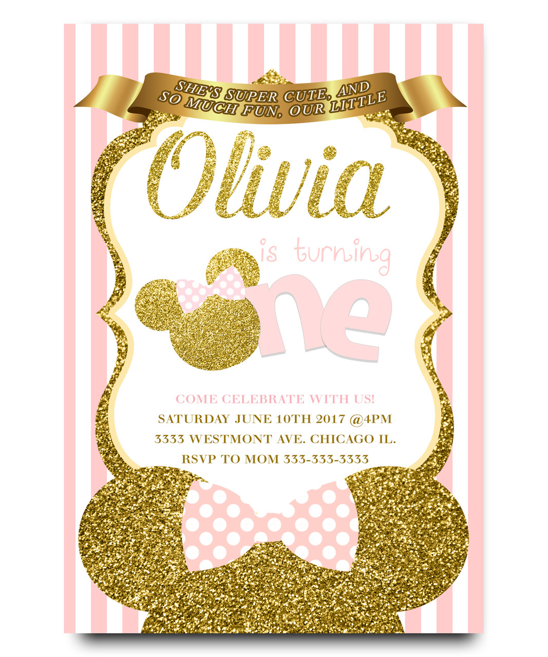 Minnie mouse Birthday invitation, Pink minnie mouse