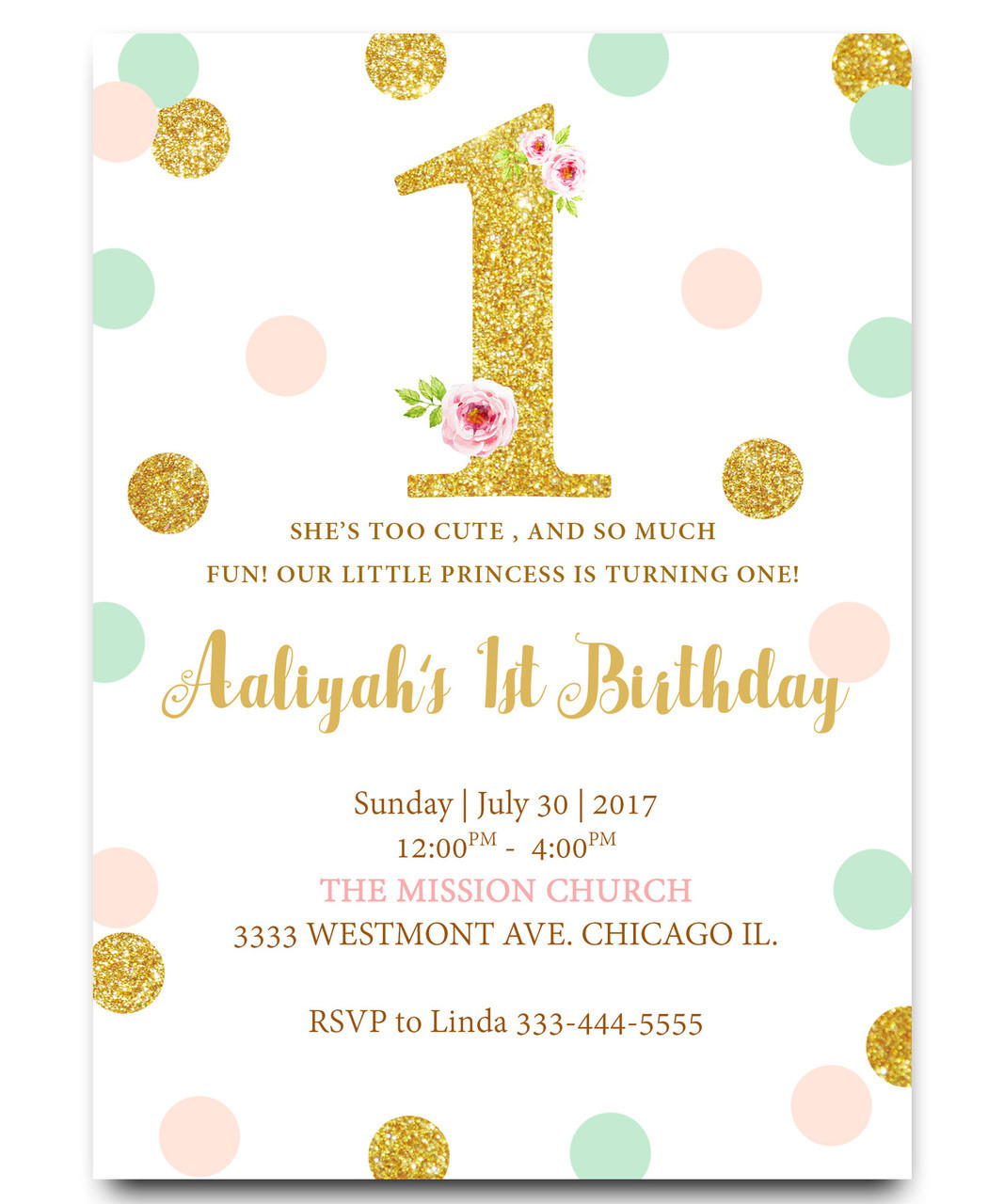 First birthday invitation, glitter pink and gold