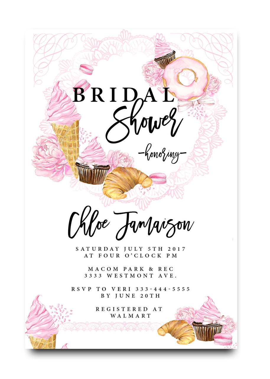 Bridal brunch invitation donuts cupcakes and ice cream