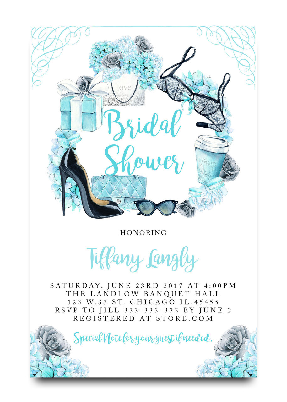 Tiffany blue bridal shower invitation lingerie shower