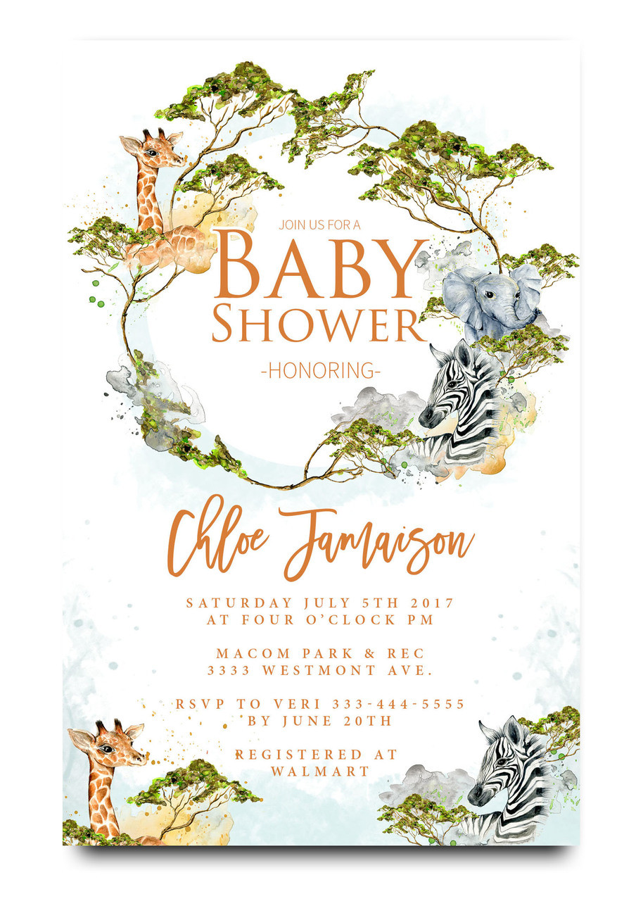 Watercolor Zoo animal, jungle theme baby shower invitation