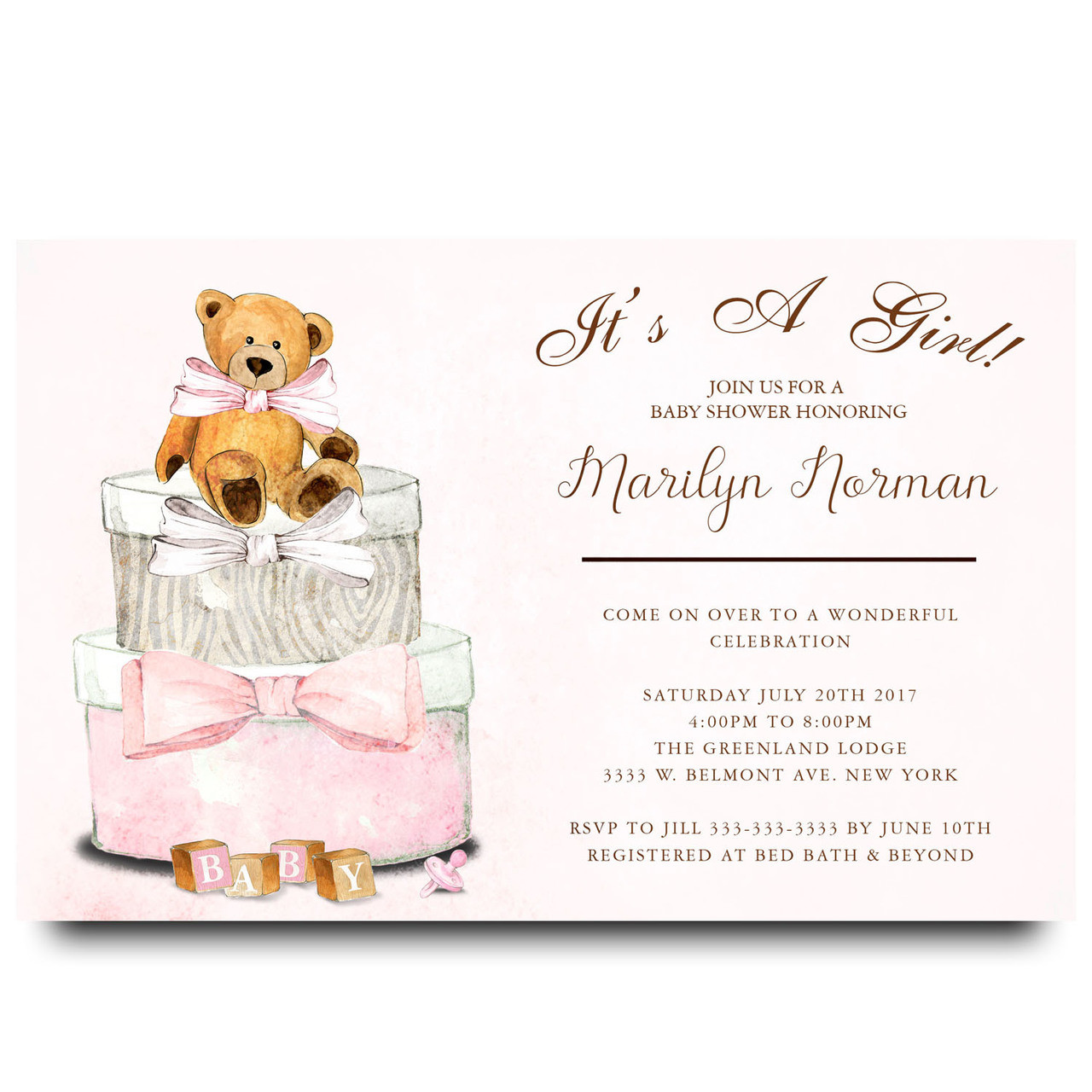 Teddy Bear, Gift Boxs, Pink Teddy Bear, Vintage, Watercolor, Baby Shower ...
