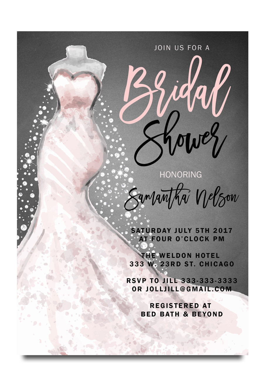 Wedding dress bridal shower invitation vintage chalkboard for Wedding dress bridal shower invitations