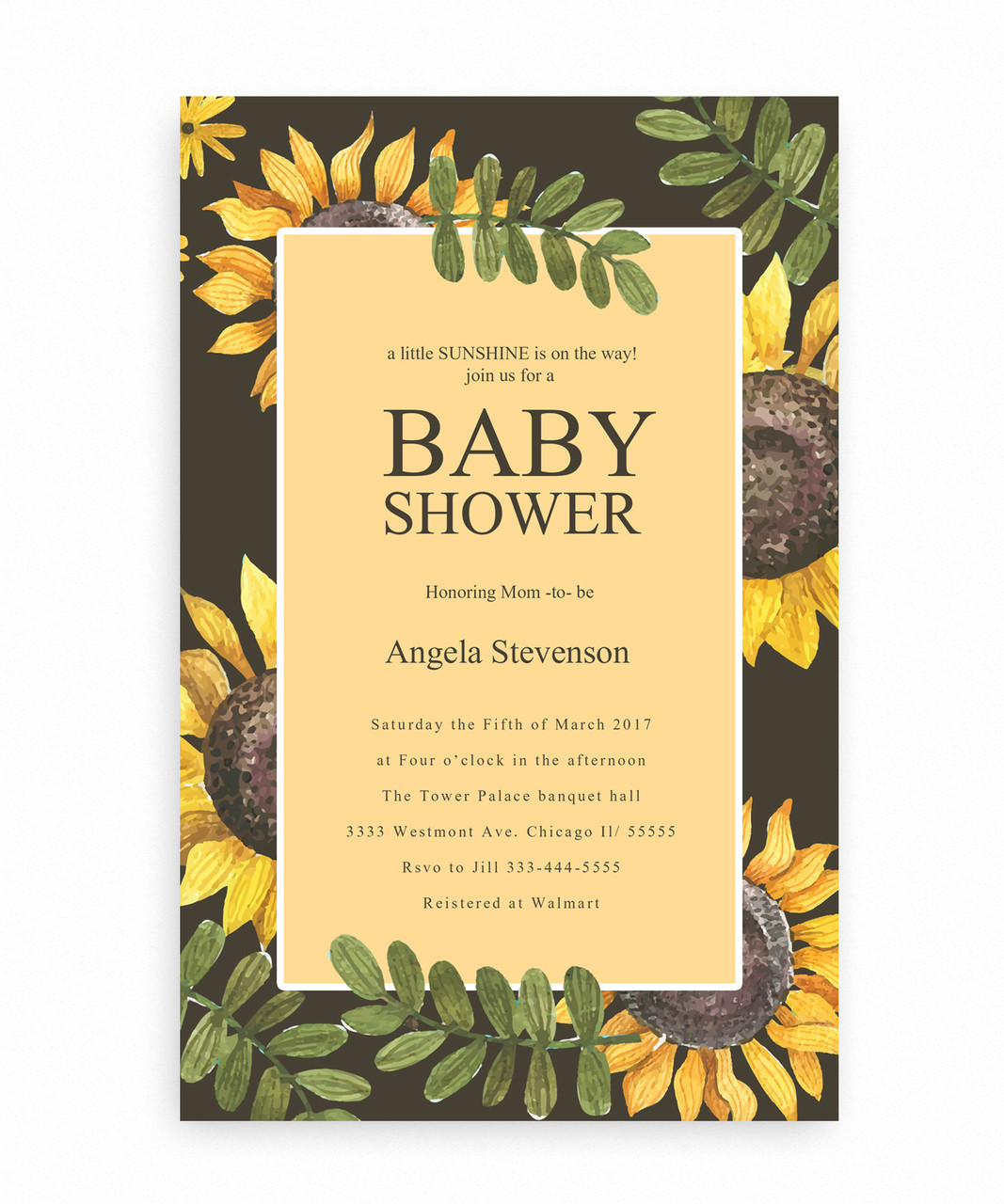Sunflower baby shower invitation sunflower baby shower invitation sunshine baby shower invitation little sunflower cute sunflowers filmwisefo