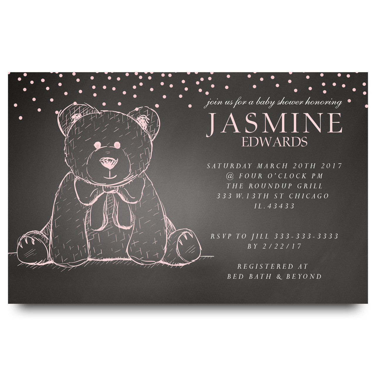 Chalkboard Teddy bear baby shower invitation