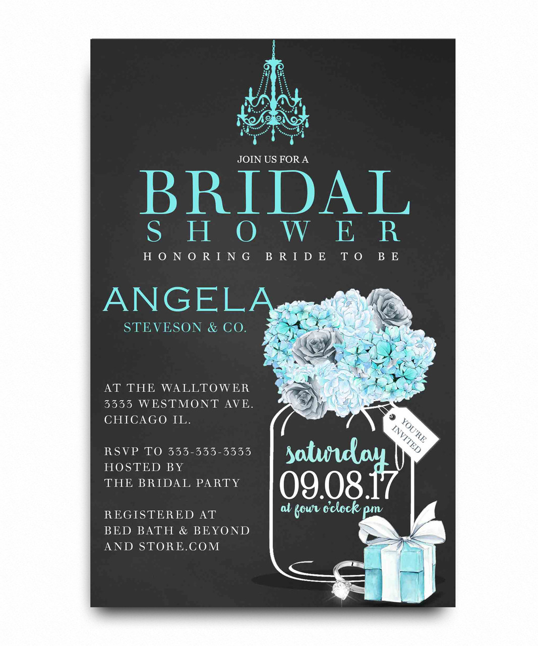 Bride magazine bridal shower invitation tiffany blue bridal shower breakfast at tiffanys gift box flowers lingerie filmwisefo Choice Image