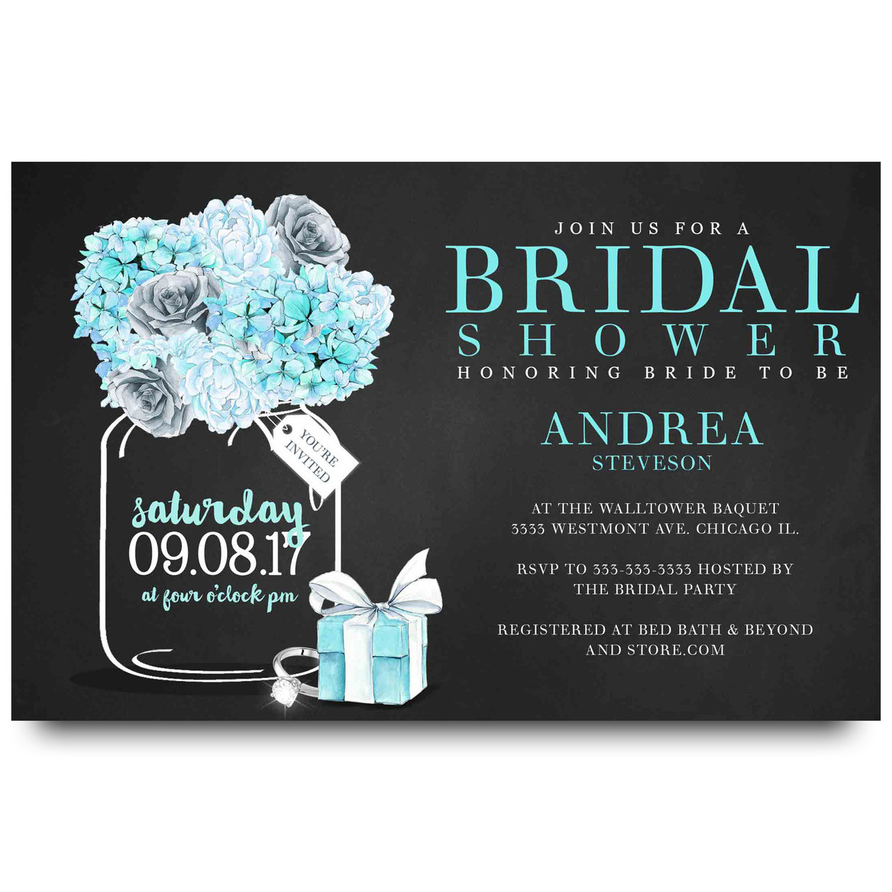 Tiffanys bridal shower invitation mason jar 2
