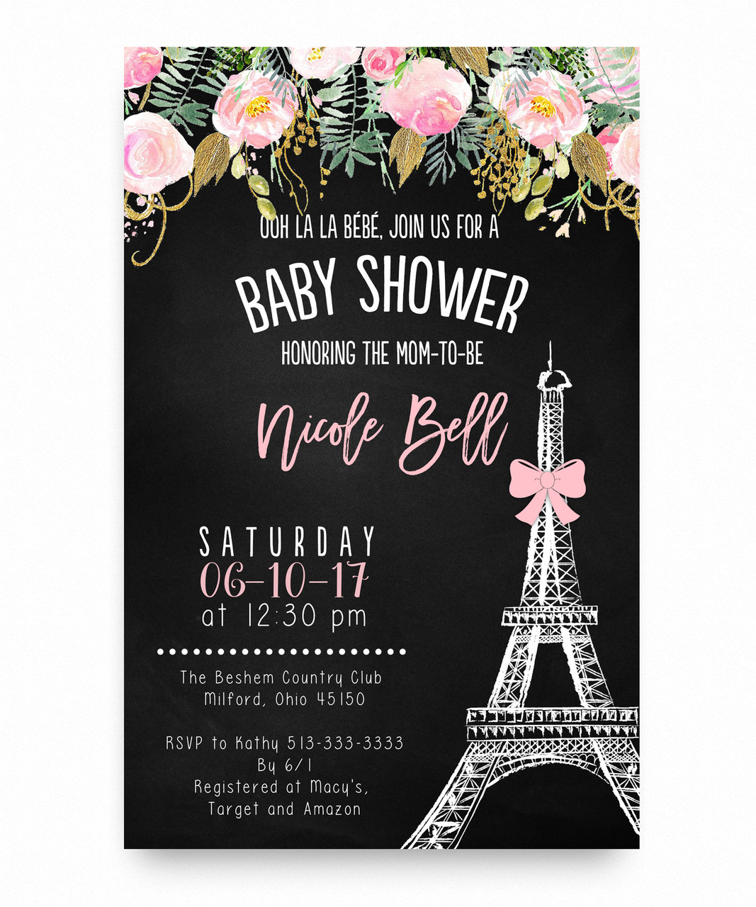 Paris baby shower invitation, Eiffel tower