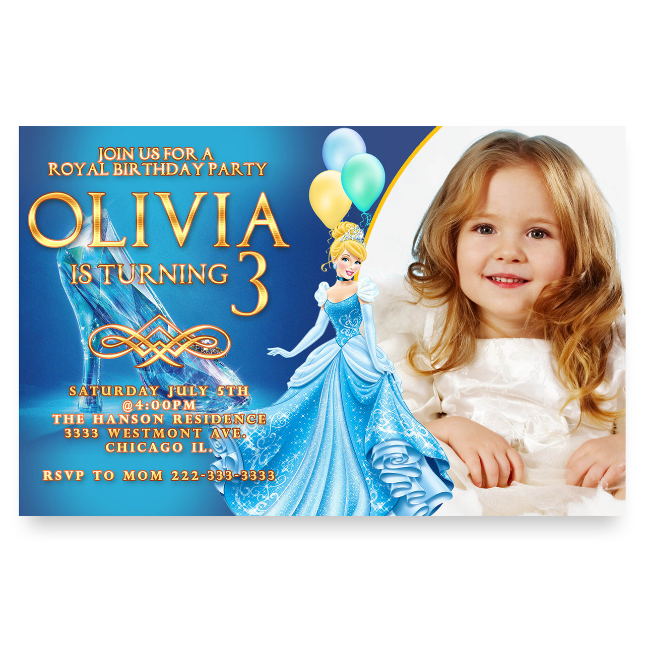 Cinderella birthday party invitation Princess birthday party