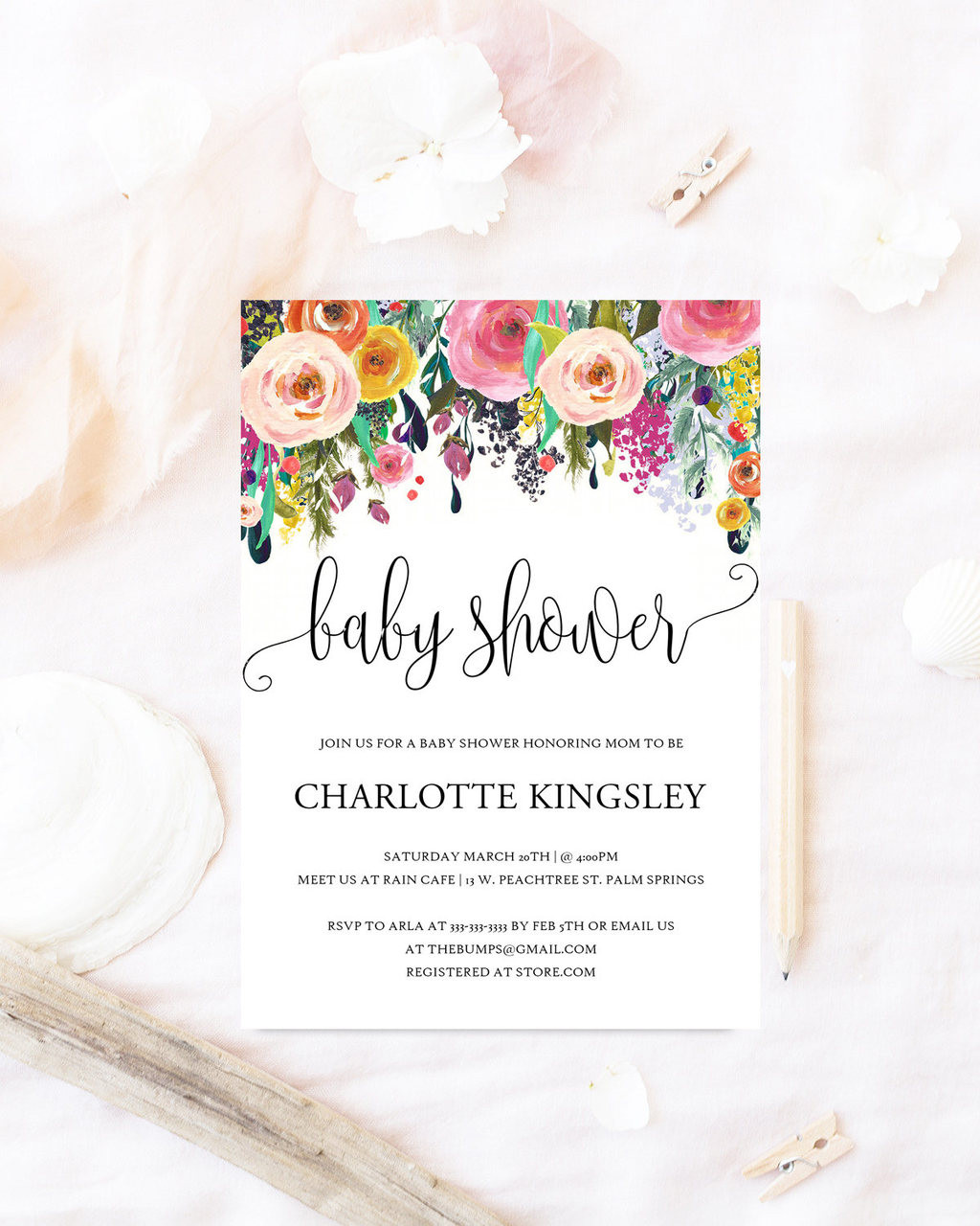 Floral baby shower invitation, Elegant baby shower invite ...