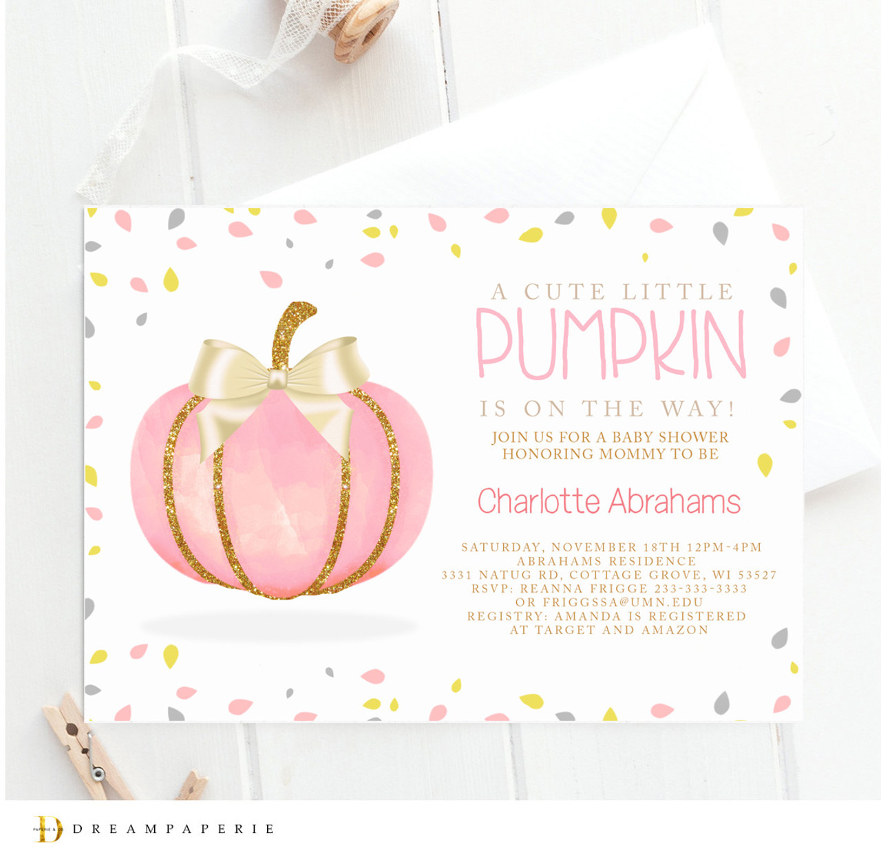 Pink Fall baby shower invitation