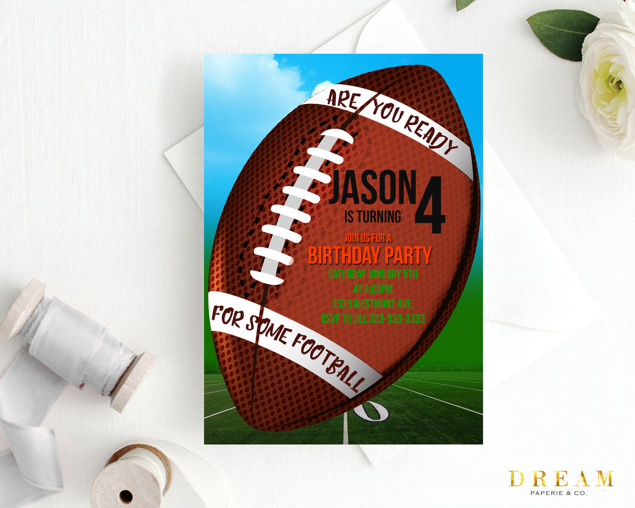 Football birthday invitation Sports birthday invitation football