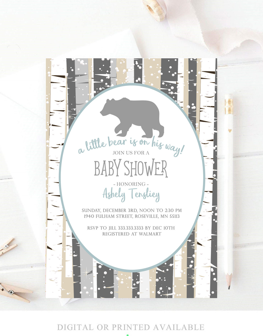 Winter woodland baby bear Baby shower invitation
