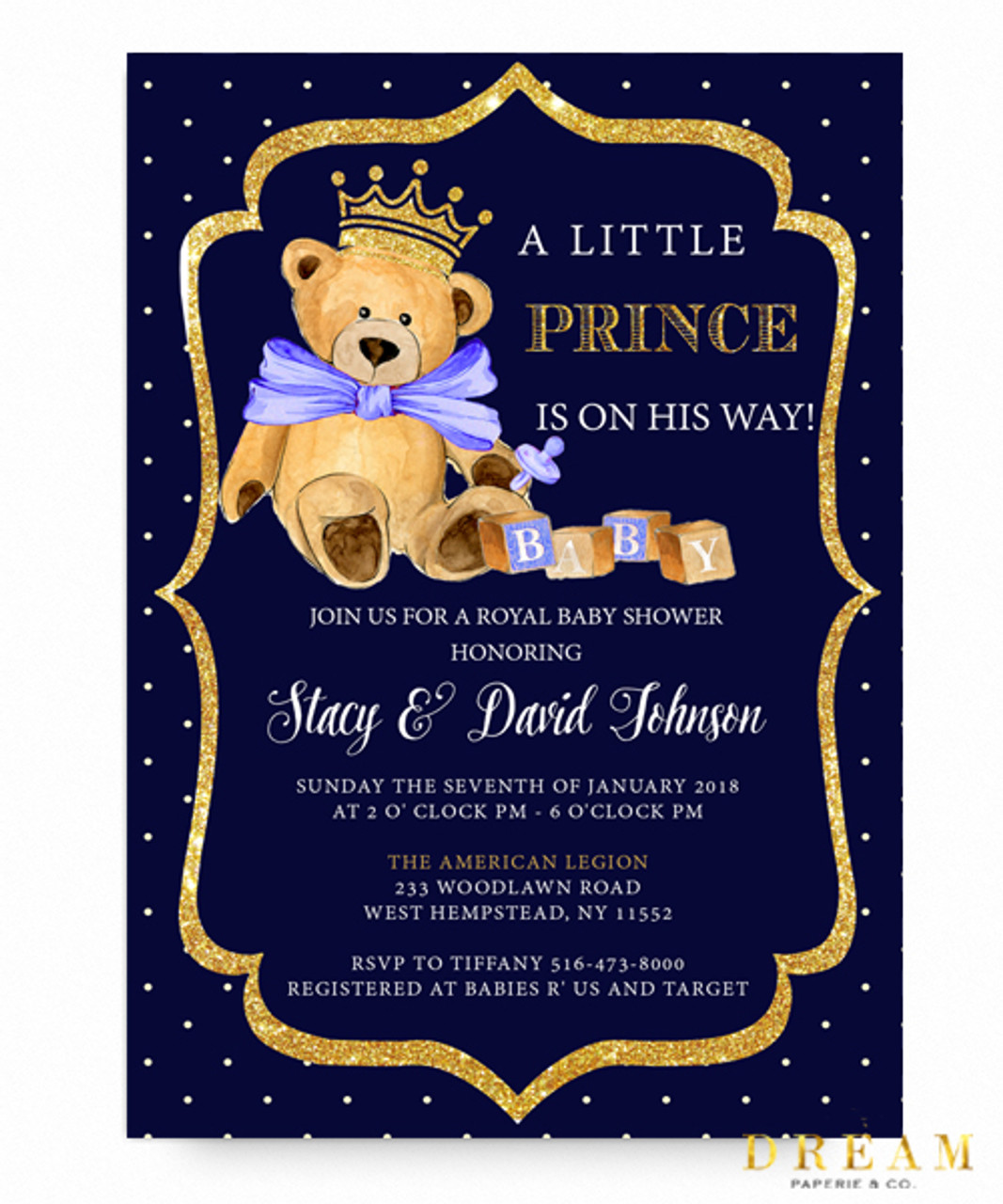 Captivating Little Prince, Baby Shower Invitation, Royal Baby Shower Invitation,royal  Blue, Glitter ...