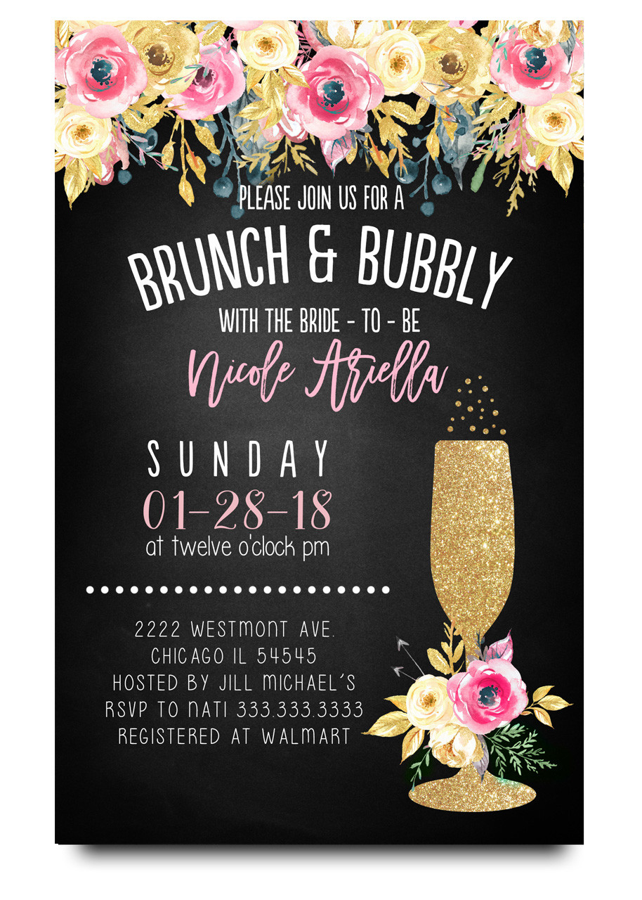 Brunch and bubbly chalkboard bridal shower invitations floral brunch and bubblychalkboard flowers glitter champagne glass brunch and flowers filmwisefo