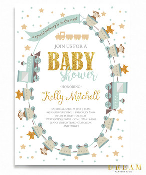 Baby shower invitations thank you cards little train baby shower invitation little engine baby shower invitation filmwisefo
