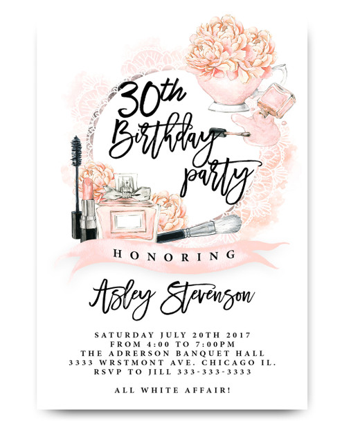 Watercolor adult birthday invitation