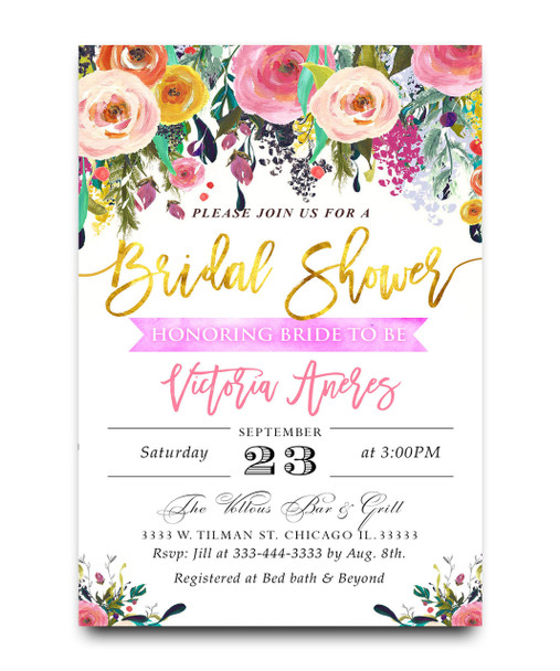 Watercolor bridal shower invitation floral water colors