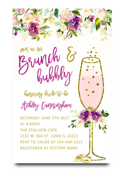 Purple Brunch and bubbly bridal shower invitation