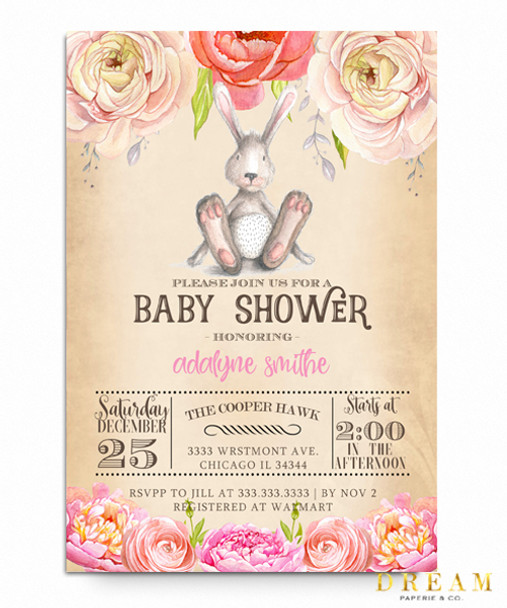 Bunny floral baby shower invitation bunny floral baby shower invitation elegant baby shower invite watercolor baby shower invite filmwisefo Choice Image