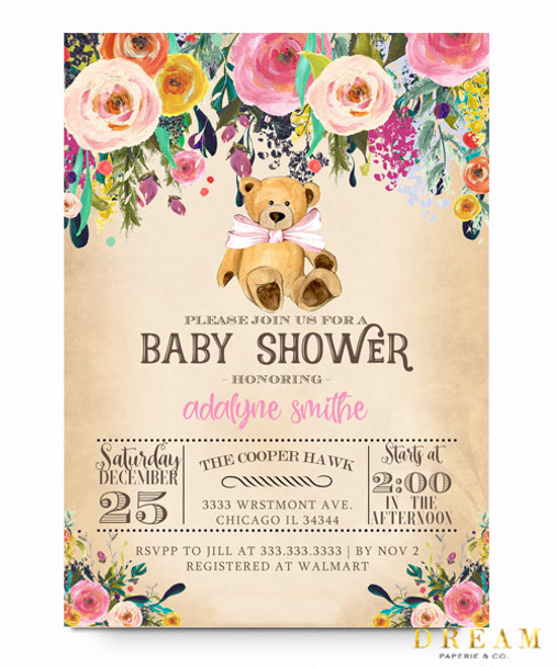 Woodland bear baby shower invitation dreams paperie woodland bear baby shower invitation filmwisefo Choice Image