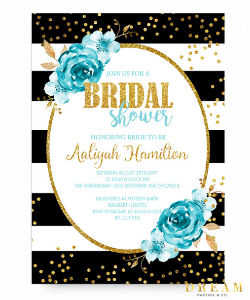 Tiffanys bridal shower invitation Floral faux gold Tiffany blue