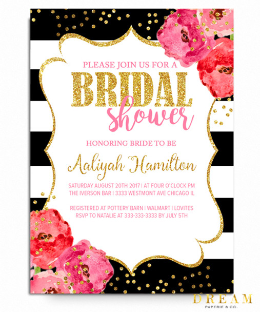 Kate Bridal shower invitation gold glitter invitation floral