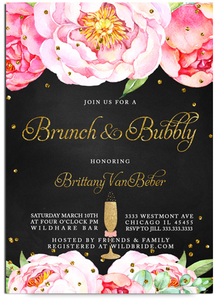 Chalkboard bridal shower invitation brunch and bubbly invite pink