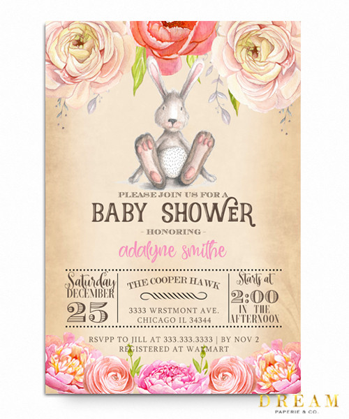 Bunny Floral baby shower invitation