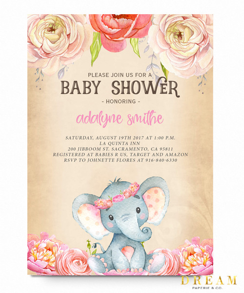 Elephant baby shower invitation watercolor flowers Vintage