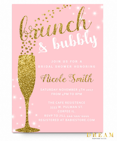 Brunch and bubbly bridal shower invitation floral brunch and bubblychalkboard flowers glitter champagne glass brunch and flowers filmwisefo