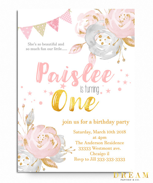 Birthday Invitation Floral First Birthday Invitation