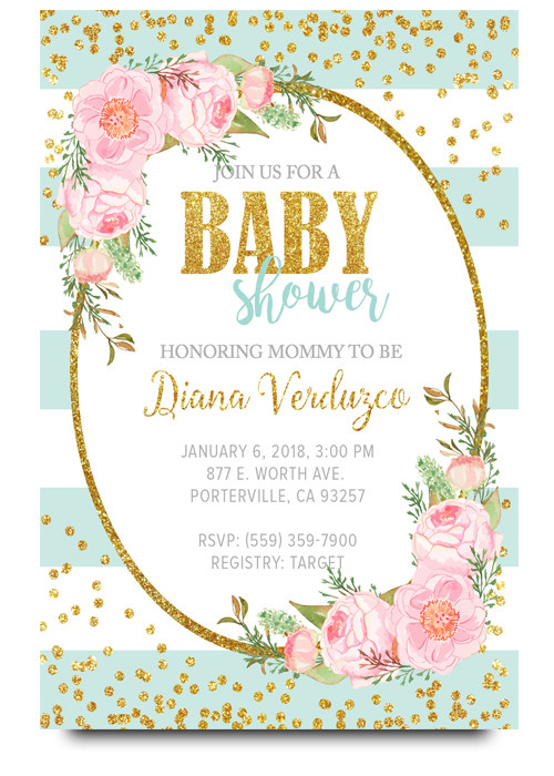 Bue Floral baby shower invitation, Elegant baby shower invite
