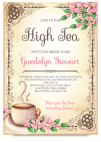 High tea bridal tea party invitation