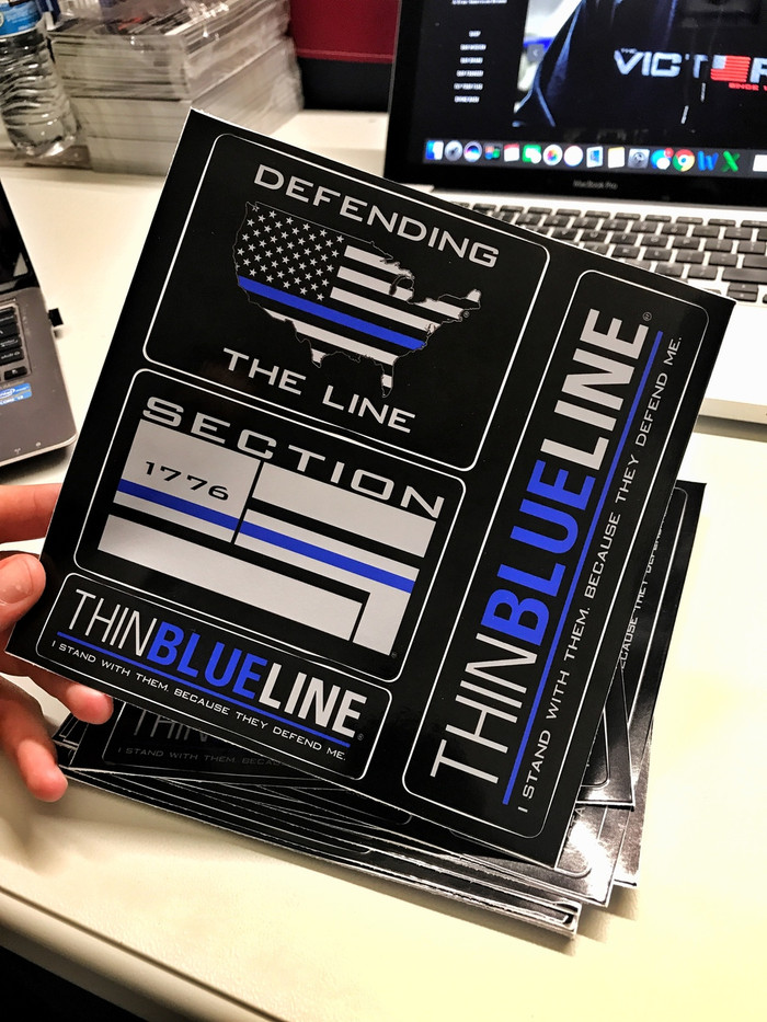 Thin Blue Line Sticker Packet
