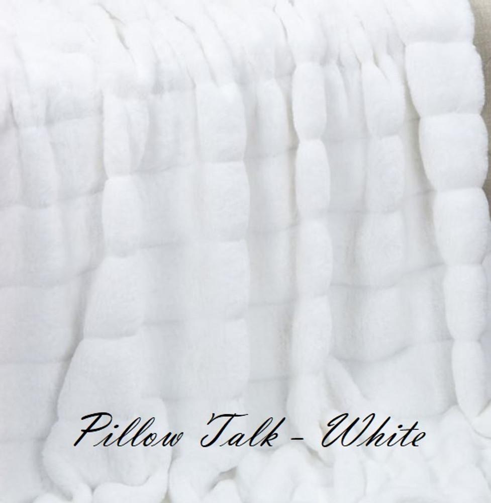 "A Pillow Talk White- 45""x 50"" Blanket, w/Crimson Red Back*DEAL"