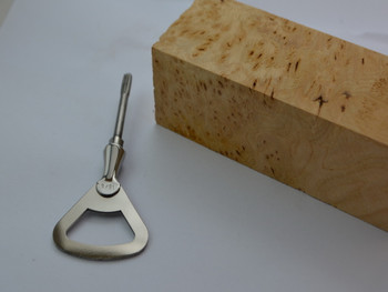 Bottle opener shown with Alder Root handle block