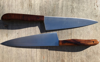 2 examples from Frank R on how good these can look. Handles in Desert Ironwood and Ringed Gidgee with carbon pins.