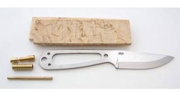 EnZo Necker Knife Kit, Scandi Grind, Curly Birch