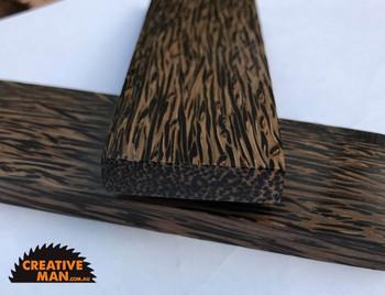 Black Palm Handle Scales, Stabilised