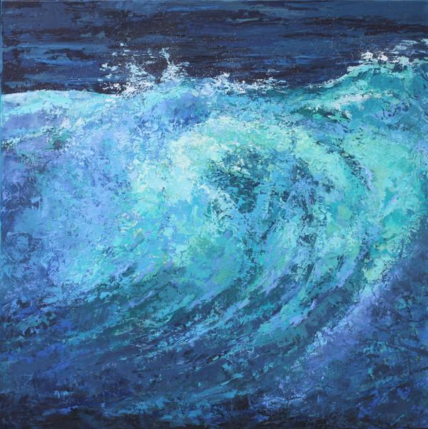 Frontal view of wave splash painting like an ocean break.