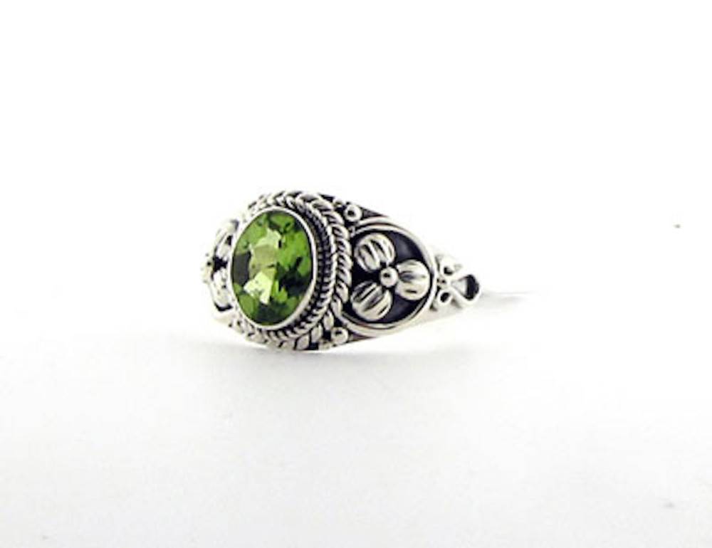 Matching Sterling Silver 6x8mm Peridot Ring (JR.0015)