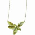 Sweet Basil Large Leaf Pearl Pendant Necklace