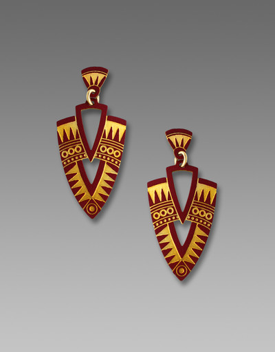 Gold and Burgundy Art Deco Shield Post Earrings