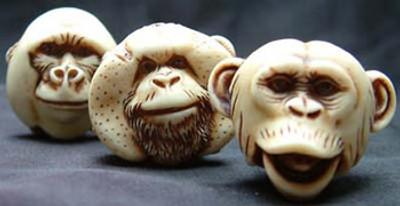 AB Netsukes - Monkey Mask Set