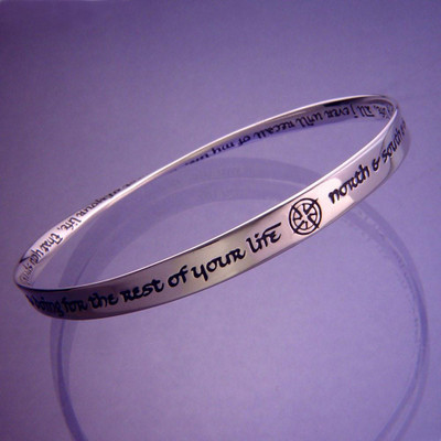 North South East & West Sterling Silver Bangle