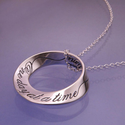 One Day At A Time Mobius Sterling Silver Necklace