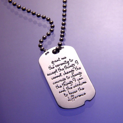 Serenity Prayer Sterling Silver Dog Tag