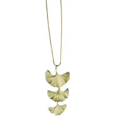 "Ginkgo ""Bold"" 3-Leaf Pendant Necklace"