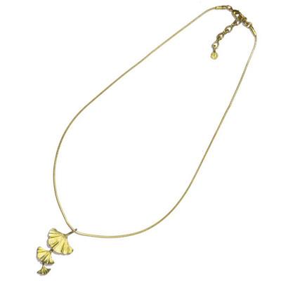 Ginkgo 3-Leaf Pendant Necklace